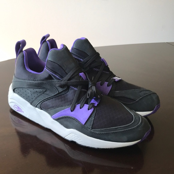 Puma trinomic purple & Black Leather 12M Sneakers NWT